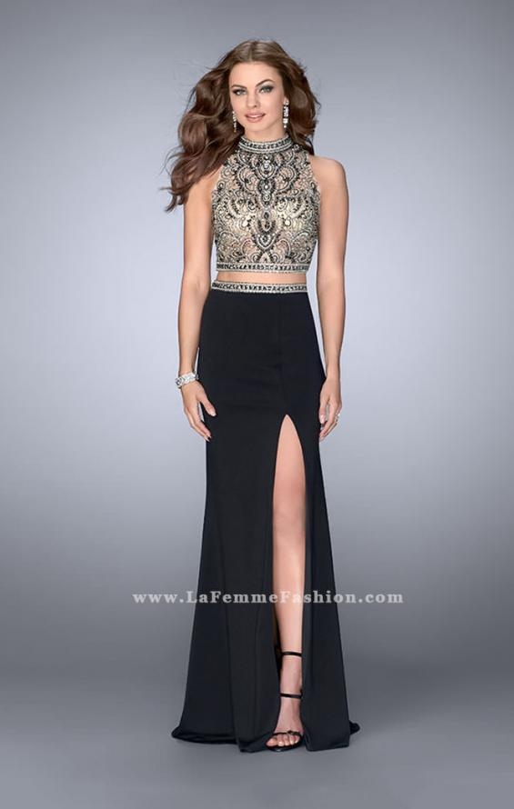 Picture of: Two Piece Prom Dress with Open Back and Cut Outs in Black, Style: 24390, Main Picture
