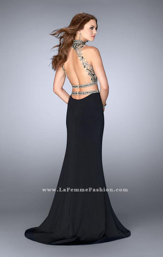 Picture of: Two Piece Prom Dress with Open Back and Cut Outs in Black, Style: 24390, Back Picture