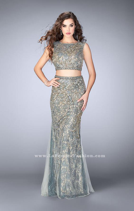 Picture of: Beaded two piece dress with a lace underlay and open back in Gold, Style: 24392, Main Picture