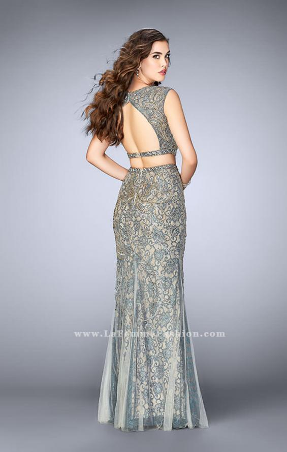 Picture of: Beaded two piece dress with a lace underlay and open back in Gold, Style: 24392, Back Picture