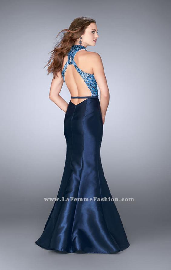 Picture of: Mikado Prom Dress with Open Back and Belt in Blue, Style: 24393, Back Picture