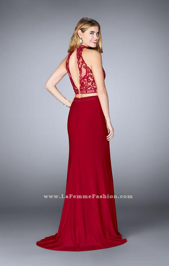 Picture of: Embroidered Two Piece Jersey Dress with Low Back, Style: 24402, Back Picture