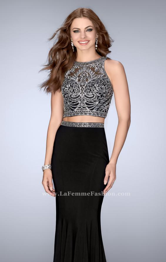 Picture of: Two Piece Prom Dress with Metallic Lace Top and Belt in Black, Style: 24403, Main Picture
