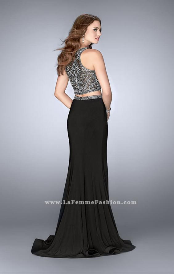 Picture of: Two Piece Prom Dress with Metallic Lace Top and Belt in Black, Style: 24403, Back Picture