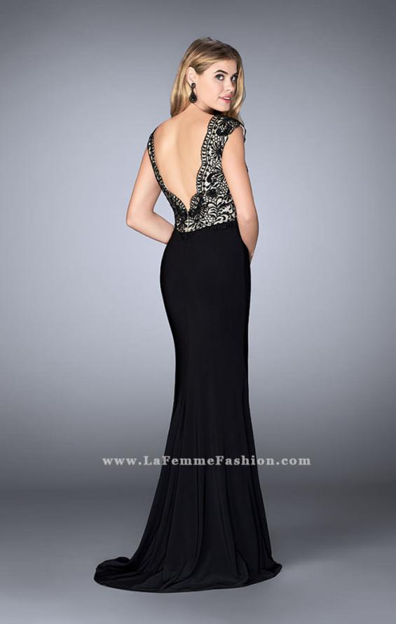 Picture of: Long Cap Sleeved Prom Dress with Front Slit, Style: 24406, Back Picture