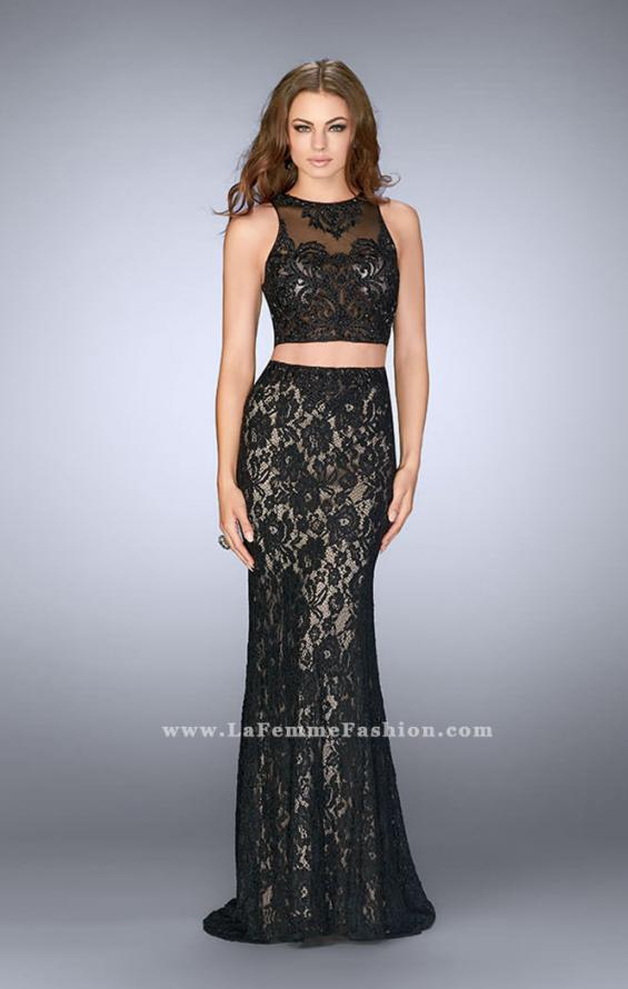 Picture of: Lace Prom Dress with Illusion Neckline and Pockets, Style: 24418, Detail Picture 2