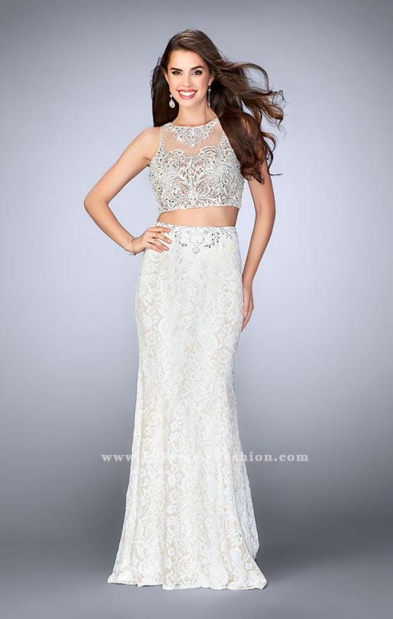 Picture of: Lace Prom Dress with Illusion Neckline and Pockets, Style: 24418, Detail Picture 3