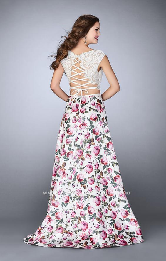 Picture of: Long A-line Two Piece Prom Dress with Floral Skirt in Print, Style: 24428, Back Picture