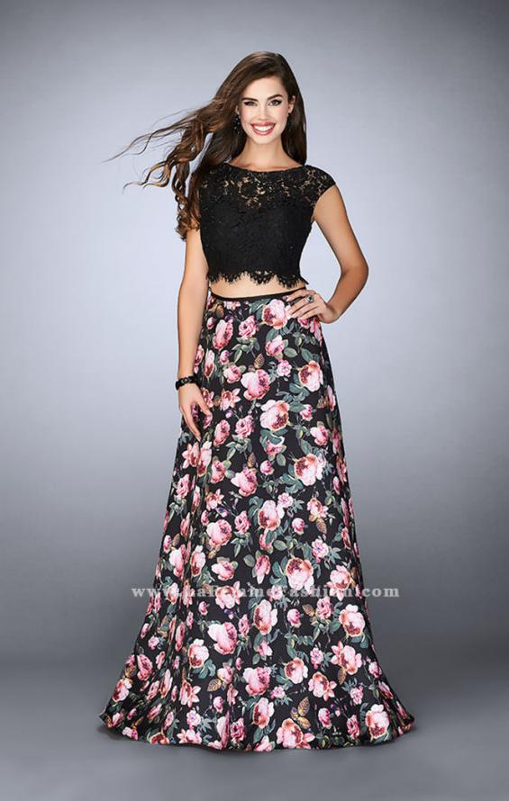 Picture of: Long A-line Two Piece Prom Dress with Floral Skirt in Print, Style: 24428, Detail Picture 1