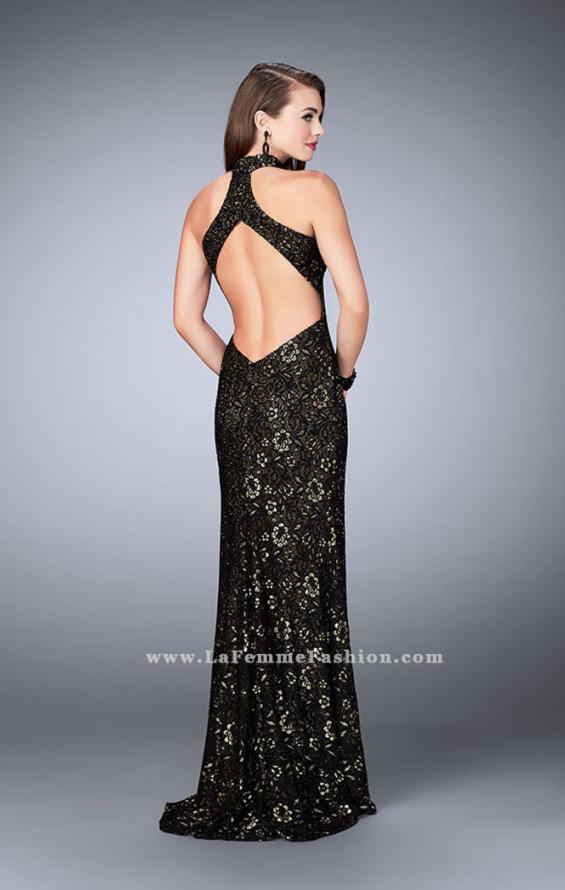 Picture of: Lace Prom Dress with Large Keyhole and Open Back in Black, Style: 24439, Back Picture