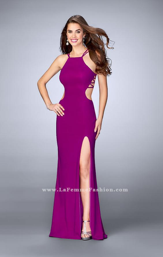 Picture of: High Neck Prom Dress with Strappy Back and Side Slit, Style: 24443, Back Picture
