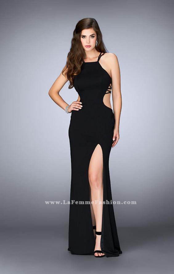 Picture of: High Neck Prom Dress with Strappy Back and Side Slit, Style: 24443, Detail Picture 3