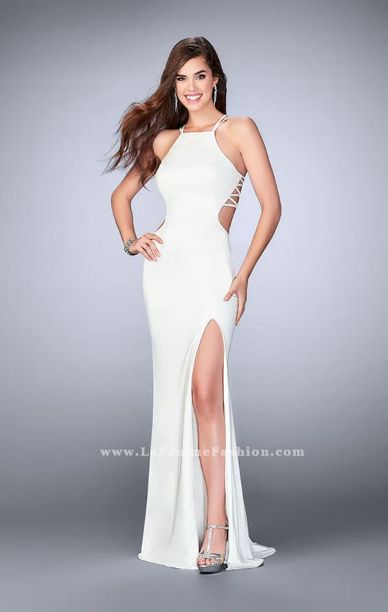 Picture of: High Neck Prom Dress with Strappy Back and Side Slit, Style: 24443, Detail Picture 4