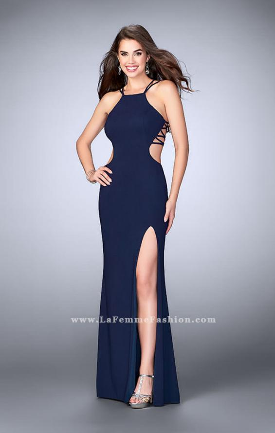 Picture of: High Neck Prom Dress with Strappy Back and Side Slit, Style: 24443, Detail Picture 5