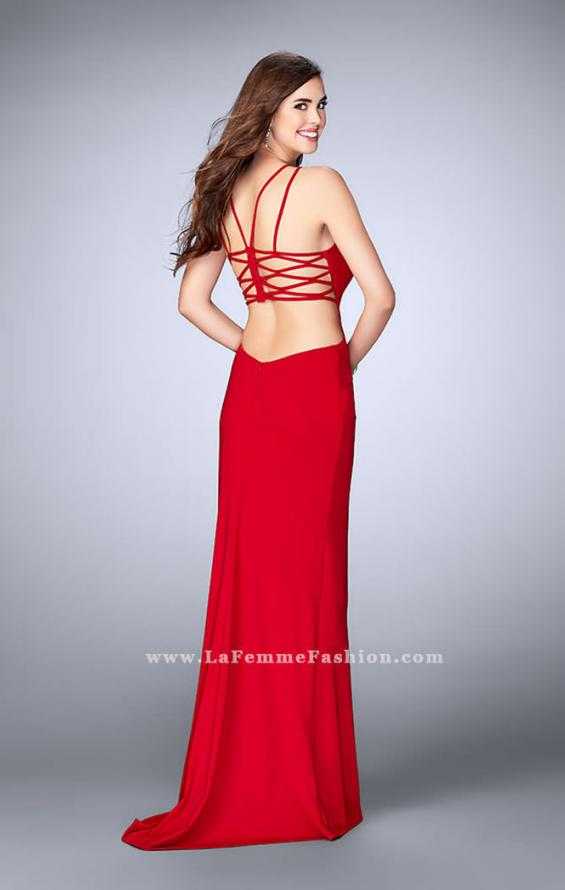 Picture of: High Neck Prom Dress with Strappy Back and Side Slit, Style: 24443, Detail Picture 6