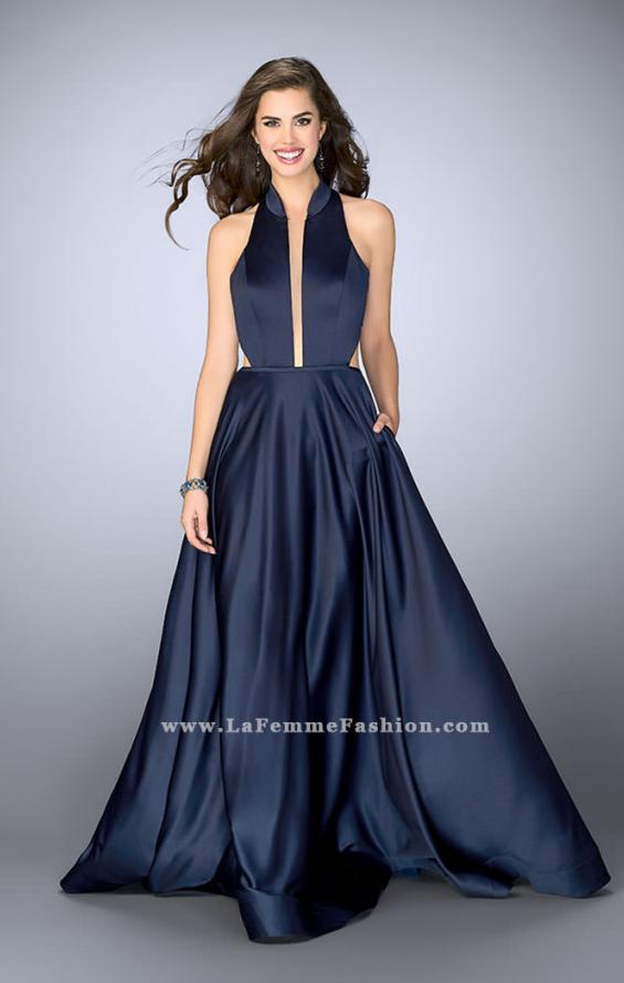 Picture of: Satin A-line Dress with Mandarin Collar and Pockets, Style: 24447, Main Picture