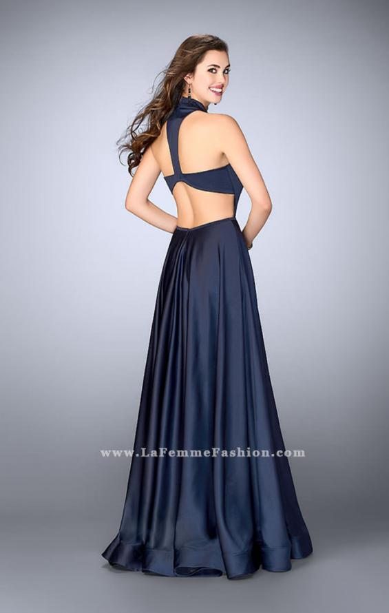 Picture of: Satin A-line Dress with Mandarin Collar and Pockets, Style: 24447, Back Picture