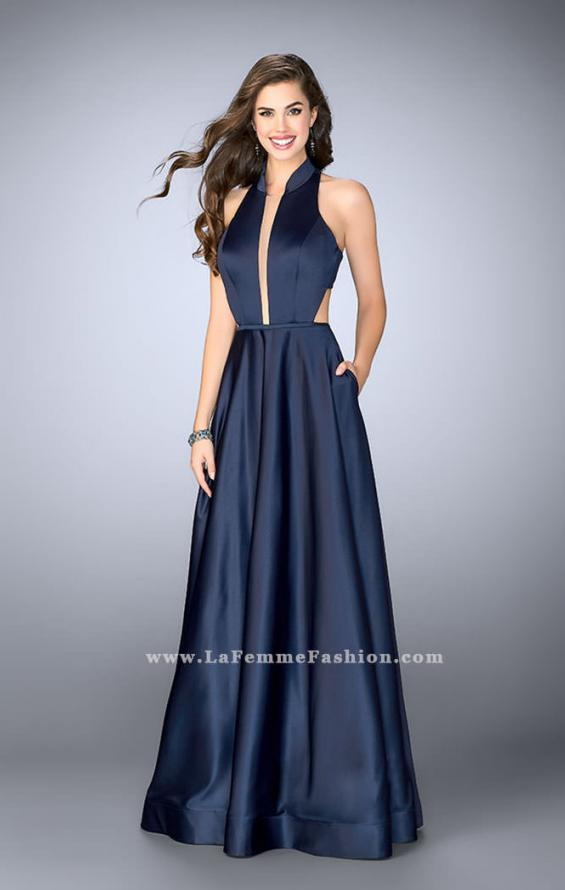 Picture of: Satin A-line Dress with Mandarin Collar and Pockets, Style: 24447, Detail Picture 1