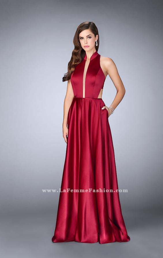 Picture of: Satin A-line Dress with Mandarin Collar and Pockets, Style: 24447, Detail Picture 2