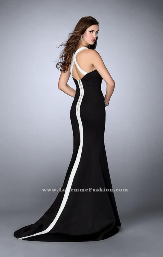 Picture of: Long Neoprene Prom Dress with Exposed Zipper in Black, Style: 24449, Back Picture