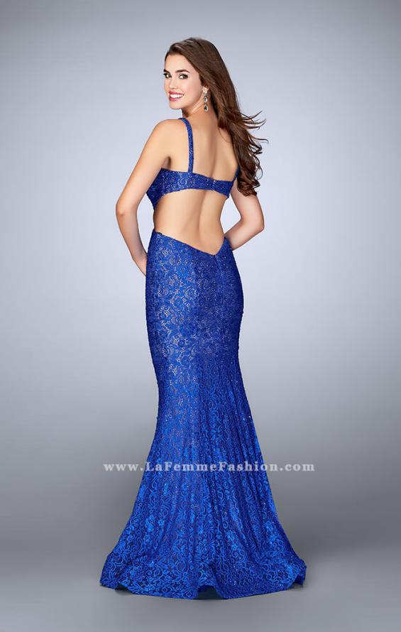 Picture of: Lace Prom Dress with Cut Outs and Sweetheart Neckline in Blue, Style: 24462, Back Picture