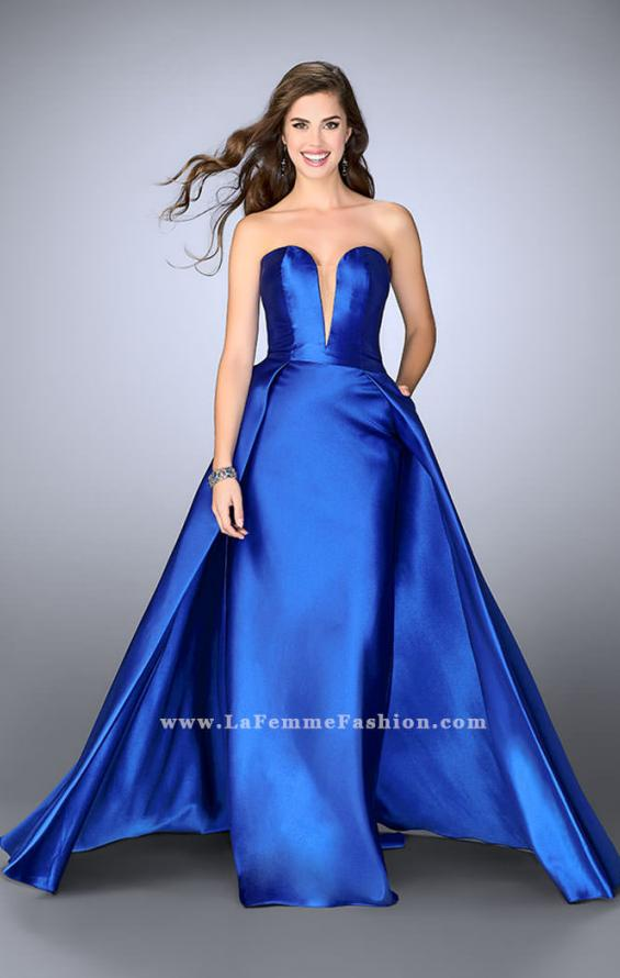 Picture of: Long Cape Dress with a Deep Sweetheart Neckline in Blue, Style: 24467, Main Picture