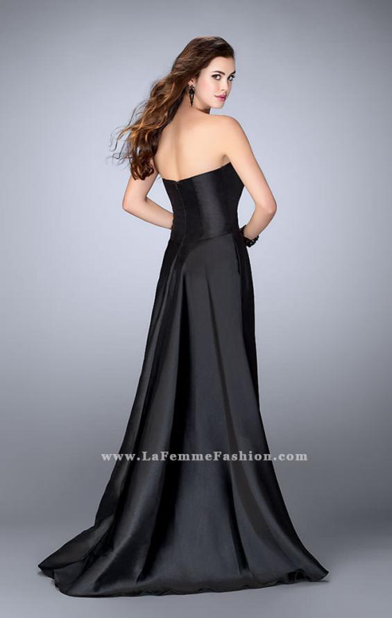 Picture of: Long Cape Dress with a Deep Sweetheart Neckline in Black, Style: 24467, Back Picture