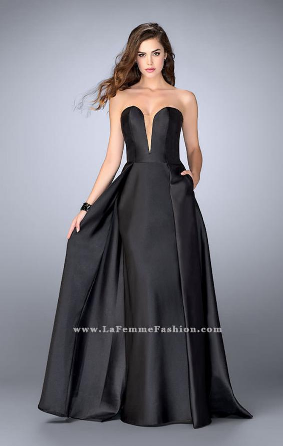 Picture of: Long Cape Dress with a Deep Sweetheart Neckline in Black, Style: 24467, Detail Picture 1