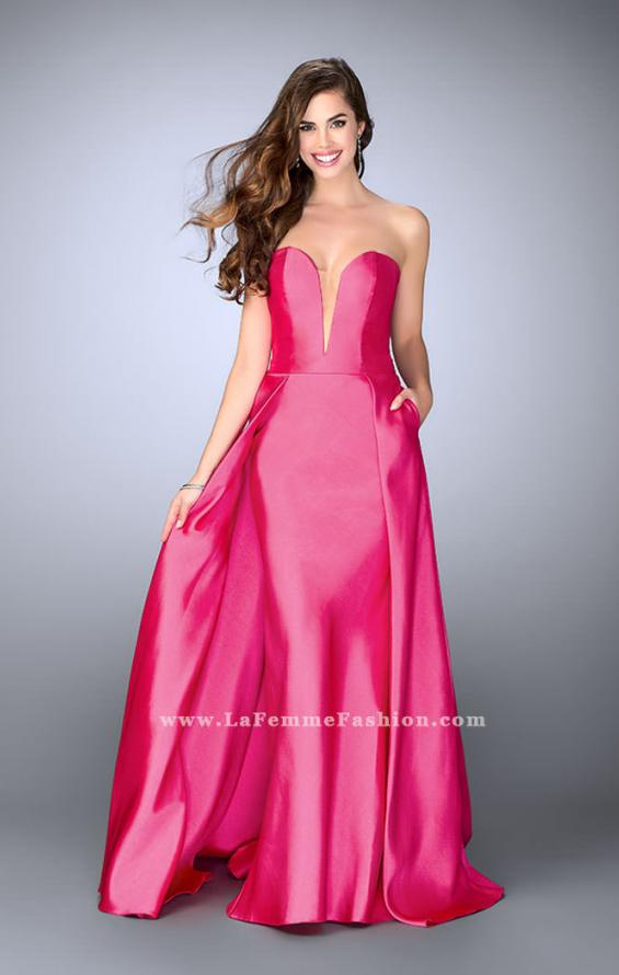 Picture of: Long Cape Dress with a Deep Sweetheart Neckline in Pink, Style: 24467, Detail Picture 2