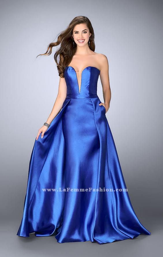 Picture of: Long Cape Dress with a Deep Sweetheart Neckline in Blue, Style: 24467, Detail Picture 4