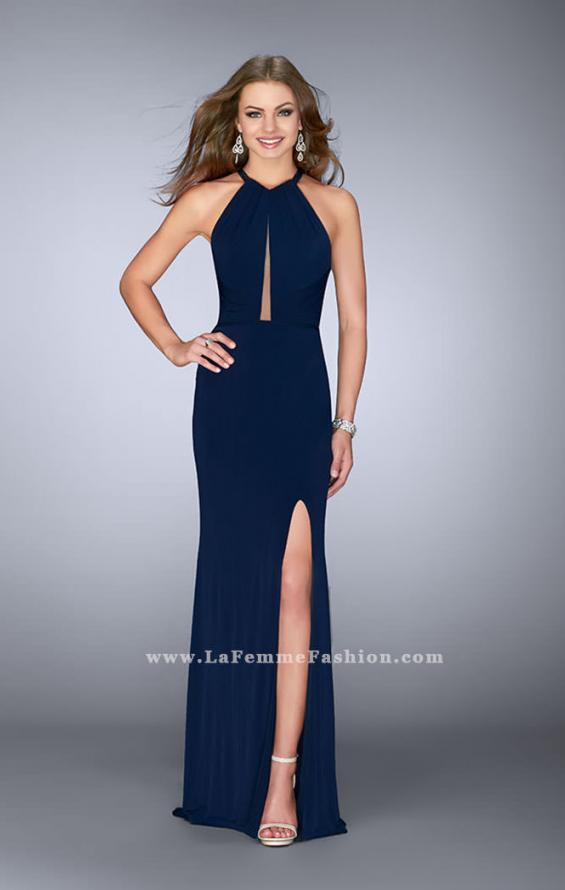Picture of: Long Jersey Prom Gown with Sheer Strappy Back in Blue, Style: 24483, Main Picture