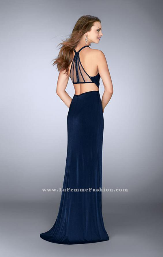 Picture of: Long Jersey Prom Gown with Sheer Strappy Back in Blue, Style: 24483, Back Picture