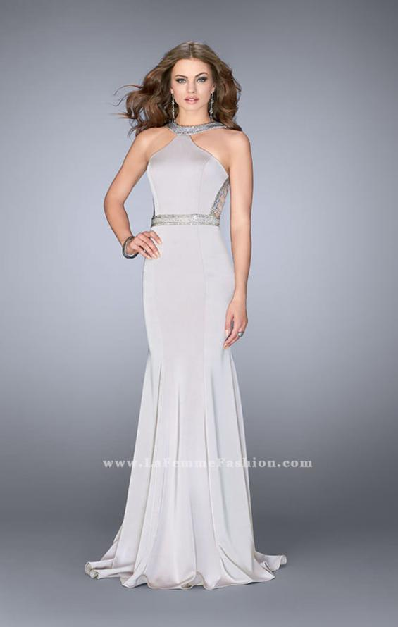 Picture of: Beaded Jersey Prom Dress with Sheer Back Straps in Silver, Style: 24485, Main Picture