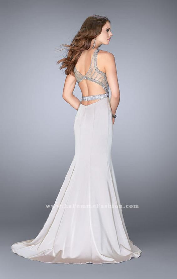 Picture of: Beaded Jersey Prom Dress with Sheer Back Straps in Silver, Style: 24485, Back Picture