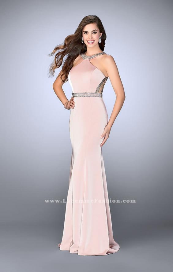 Picture of: Beaded Jersey Prom Dress with Sheer Back Straps in Pink, Style: 24485, Detail Picture 1