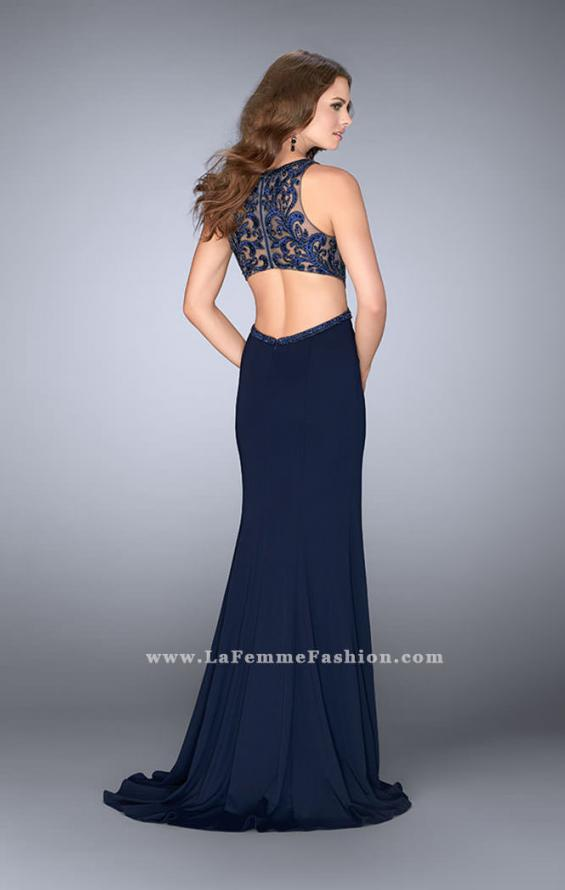 Picture of: Jersey Prom Dress with Embroidered Lace Top, Style: 24486, Back Picture