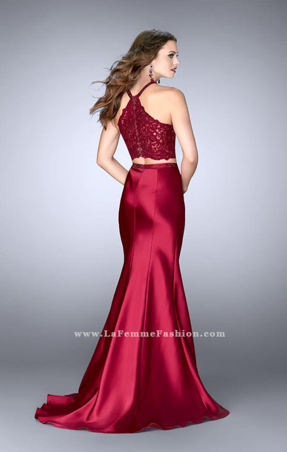 Picture of: Long Mermaid Prom Dress with a High Neck Lace Top in Red, Style: 24491, Back Picture