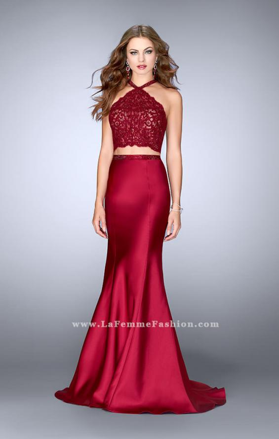 Picture of: Long Mermaid Prom Dress with a High Neck Lace Top in Red, Style: 24491, Detail Picture 1