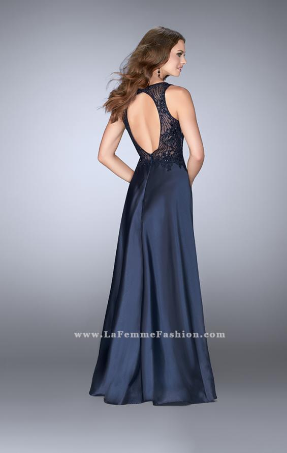 Picture of: Long Cape Prom Dress with Lace Top and V Neckline, Style: 24492, Back Picture