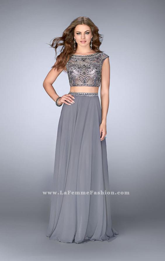 Picture of: A-line Prom Dress with Beaded Top and Cap Sleeves, Style: 24493, Main Picture