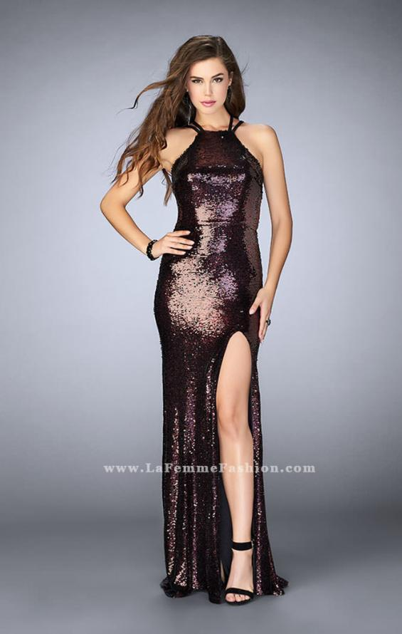 Picture of: Fitted Sequin Dress with a Strappy Back and Slit, Style: 24497, Main Picture