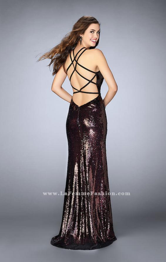 Picture of: Fitted Sequin Dress with a Strappy Back and Slit, Style: 24497, Back Picture