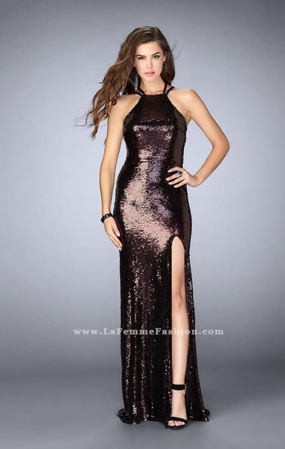 Picture of: Fitted Sequin Dress with a Strappy Back and Slit, Style: 24497, Detail Picture 1