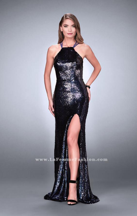Picture of: Fitted Sequin Dress with a Strappy Back and Slit, Style: 24497, Detail Picture 2