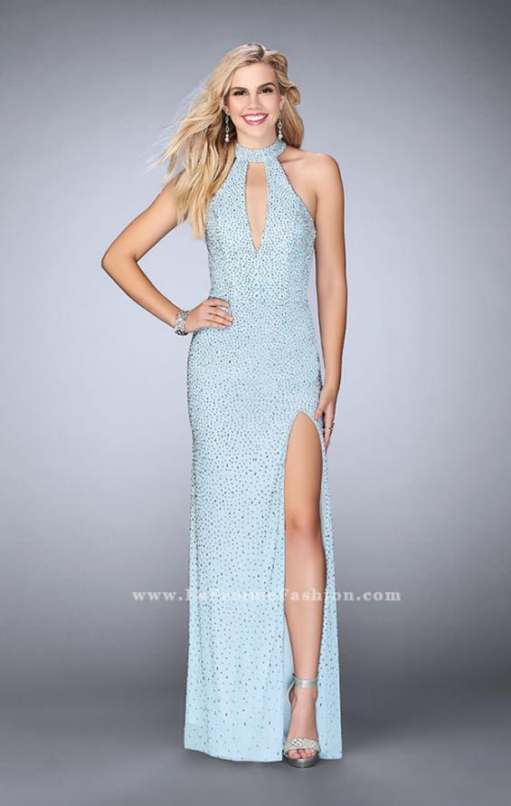 Picture of: High Neck Beaded Dress with Keyhole and Open Back, Style: 24499, Detail Picture 2