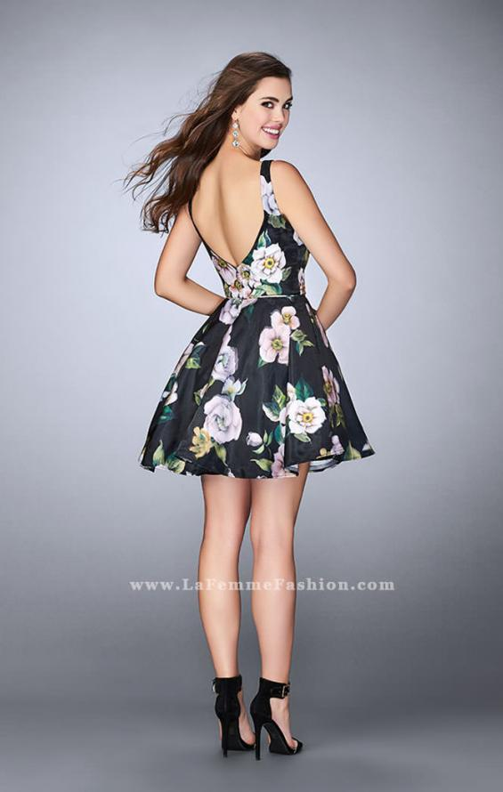 Picture of: Short Floral Dress with a Deep Neckline and Pockets, Style: 24500, Back Picture