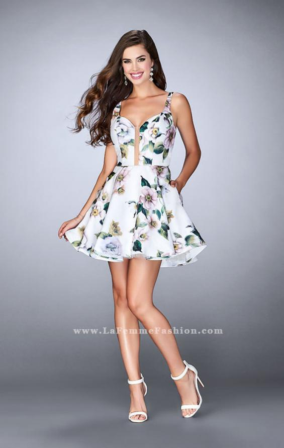 Picture of: Short Floral Dress with a Deep Neckline and Pockets, Style: 24500, Detail Picture 1