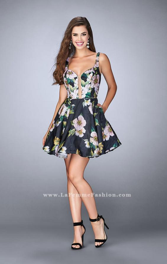 Picture of: Short Floral Dress with a Deep Neckline and Pockets, Style: 24500, Detail Picture 2