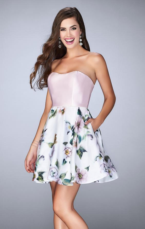 Picture of: Short Strapless Floral Dress with Open Back in Print, Style: 24506, Main Picture