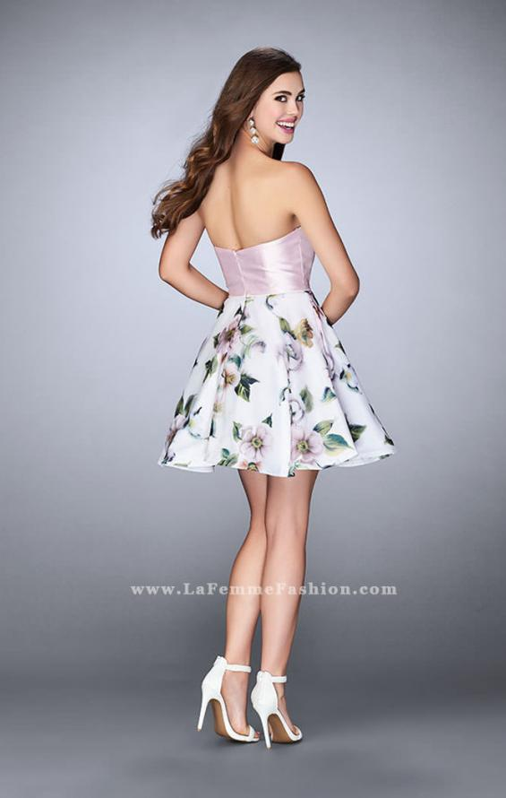 Picture of: Short Strapless Floral Dress with Open Back in Print, Style: 24506, Back Picture
